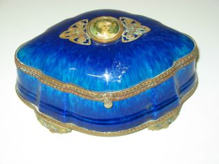 Sevres Paul Milet Blue Jewelry Dresser Box With Victorian Woman photo