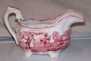 Ca.  1830s Staffordshire Red Transferware Creamer The Sower Adams Farming Horses photo