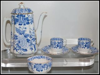 Unusual Antique Copeland Spode Blue Flower Porcelain Espresso Coffee Set Nr photo
