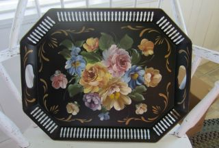 Black Metal Handpainted Toleware Tray,  20