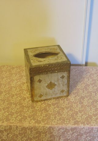 Vtg Italian Florentine Square Facial Tissue Holder Gold/cream Cottage Shabby photo
