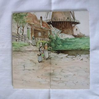 Antique Belgian Hand Painted Art Tile Picture,  Rustic Scene,  4 Boch Freres Tiles photo
