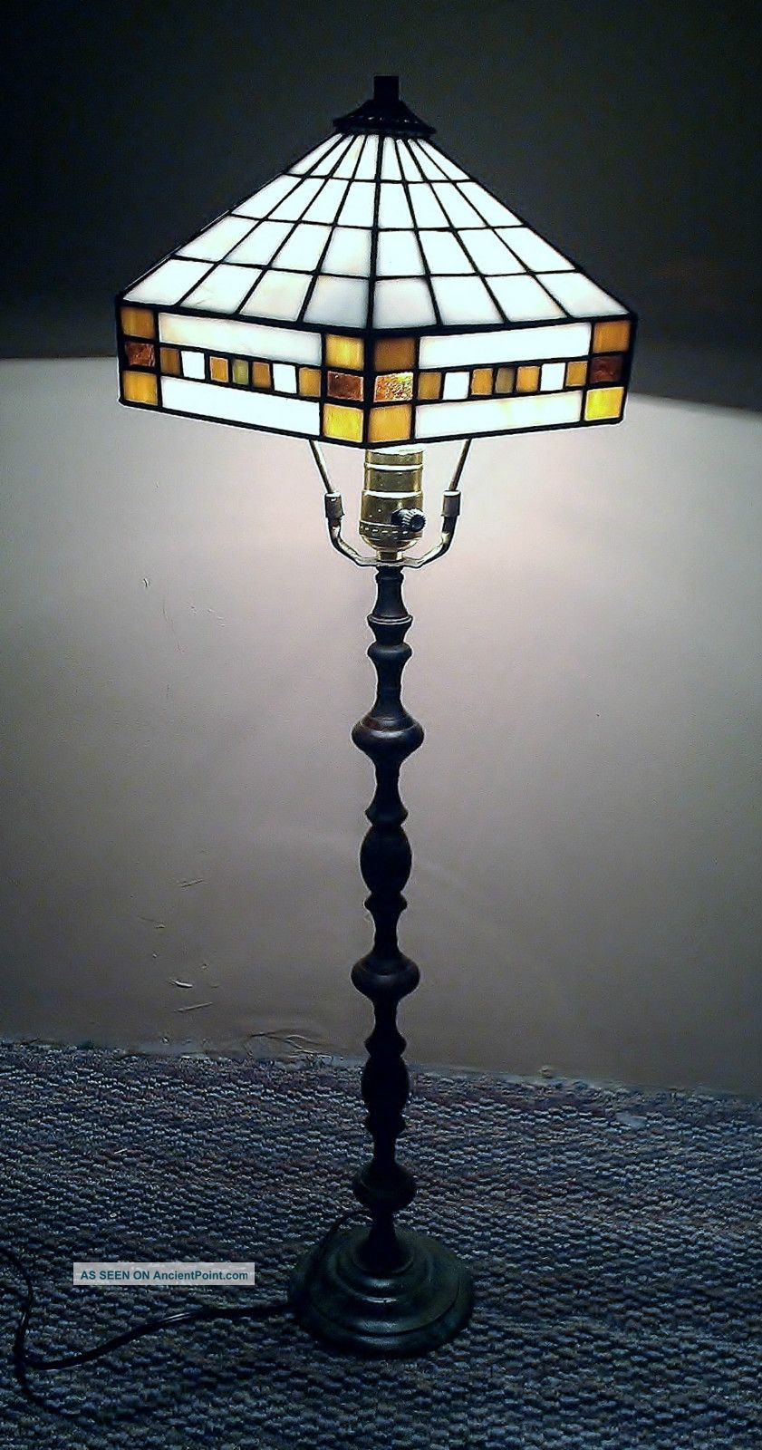 Vintage Stained Glass Tiffany Style Shade With Slender Bronze Lamp Stand Lamps photo