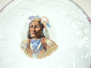 Antique Porcelain Tea Pot Cozy American Plains Indian Chief Crazy Horse Rare photo