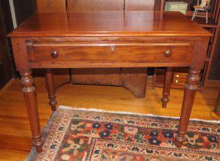 Antique Primitive 1 Drawer Stand/table/desk Rectangular Dovetail Drawer Turn Leg photo
