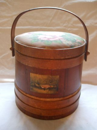 Vintage Firkin Primitive Wooden Sugar Pantry Sewing Bucket photo