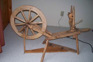 Antique Wooden Primitive Spinning Wheel photo