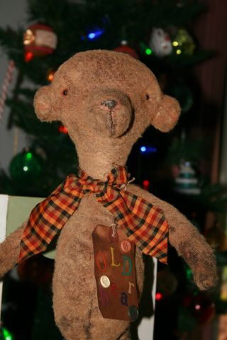 Primitive Grungy Heirloom Teddy Bear Doll photo