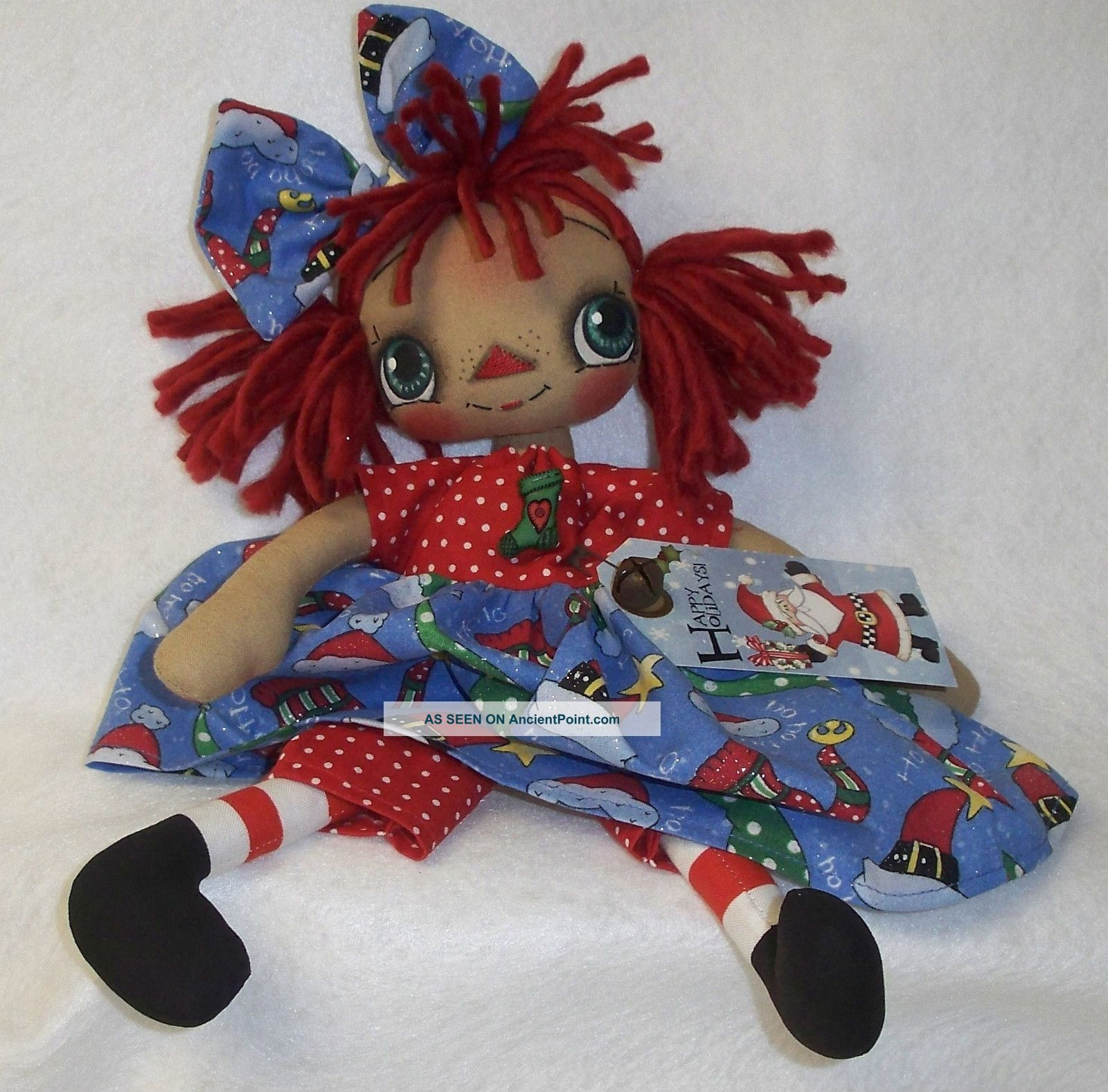 ... Raggedy Doll Annie Christmas Tag Country Santa Ornie Primitives photo