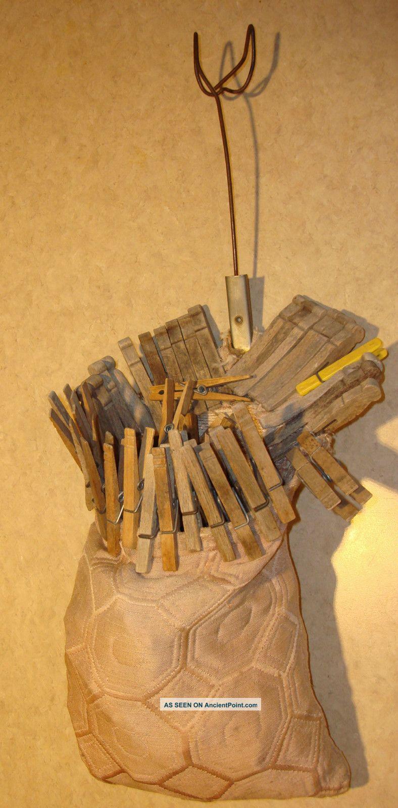 Vintage Wooden Clothes Pins And Vintage Bag Primitives photo