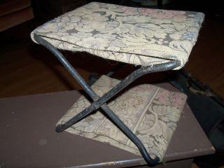 Antique Vintage Victorian Castiron Footstool Milking Rug Tapestry Seat Primitive photo