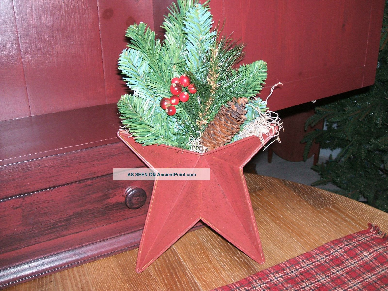 primitive country christmas decor tin star wall pocket decoration berriespine