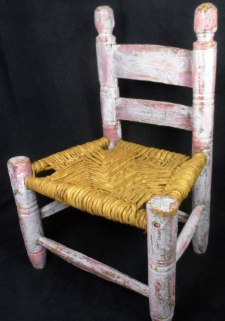 Vintage Childs Wood & Wicker Primitive Hand Painted Seat Antique Aafa Folk Art photo