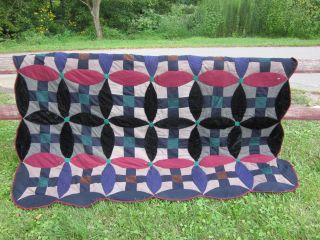Great Old Antique Handmade Wool Quilt - Men ' S Suits photo