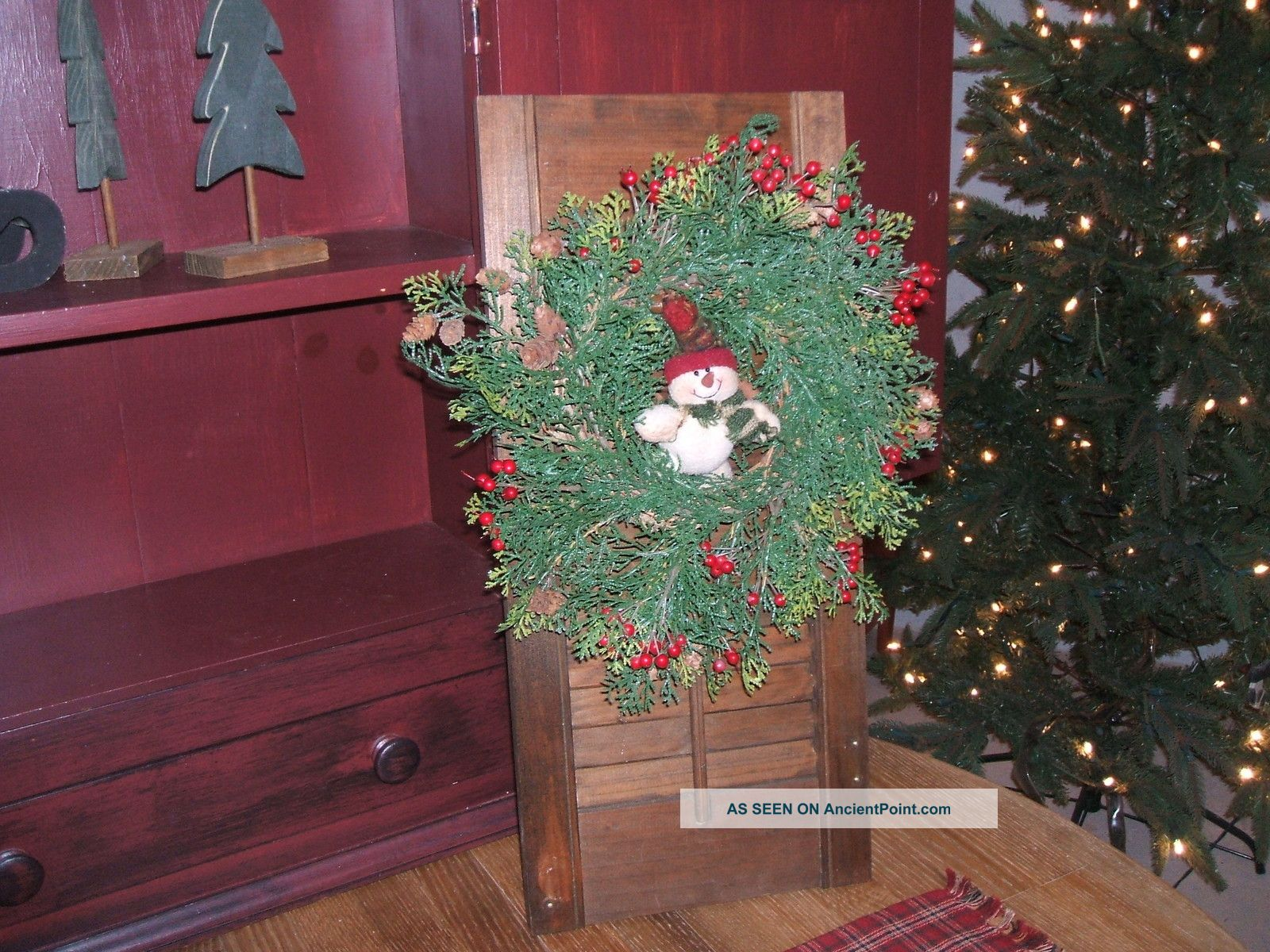 Primitive Country Christmas Decor Wood Shutter Wreath Snowman