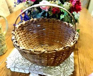 Old Carolinas Split Oak Large Gathering Garden Basket From St.  Augustine Estate photo