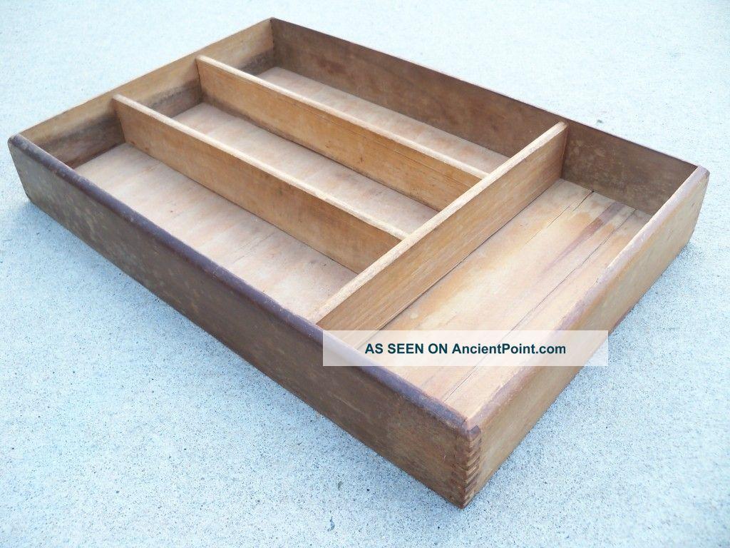 Antique Wood Silverware Flatware Tray Drawer Box Old Worn