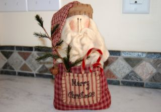 Primitive Christmas Santa Claus Doll Gingham Plaid Feather Tree Rusty Bell Prim photo