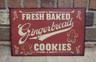 Prim Style Holiday Christmas Wood Sign Fresh Baked Gingerbread Cookies Hp photo