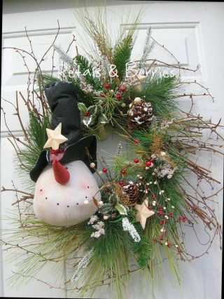 Christmas Holiday Winter Snowman Door Wreath Arrangement photo