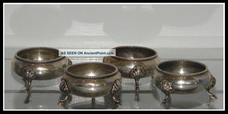 Set 4 Antique Victorian Sterling Silver Salt Cellars Nr United Kingdom photo
