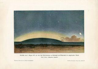 C1900 Arctic Northern Lights Aurora Borealis Antique Litho Print H.  Kraemer photo