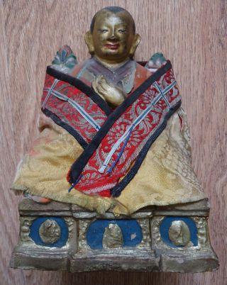 Mongolian Buddhist Antique Statue Tsa Tsa 18 - 19cen (big & Rare) photo