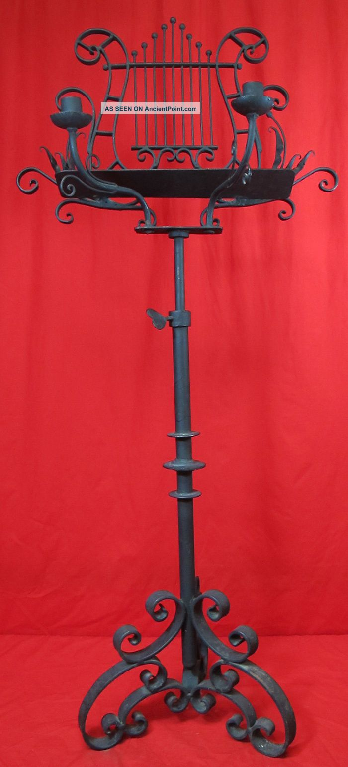 Ornate Wrought Iron Music Stand Candle Holder Victorian Double As Easel Yqz 1800-1899 photo