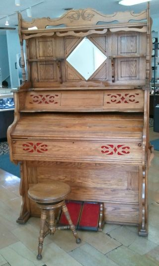 Great For Christmas Pump Organ W/ Stool C.  1890 - Farrand & Votey photo