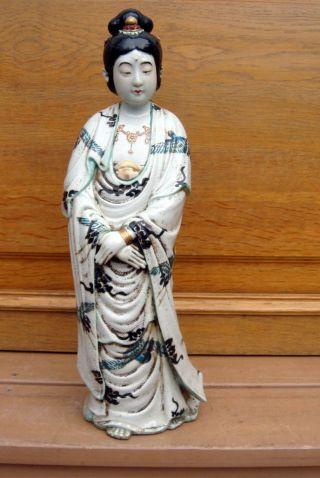 Antique Asian Chinese Qing Dynasty Large Porcelain Statue Kwan Yin Buddha photo