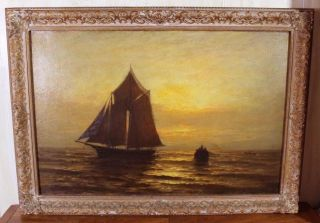 Antique 19thc Otis S Weber Luminist Sunset Maritime Seascape Oil Painting Nr photo