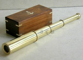 Nautical Full Brass Telescope With Wooden Box Collectible Marine Vintage Gift photo