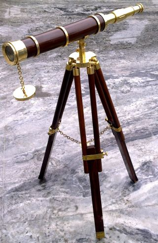 Brass Wood Telescope With Stand Maritime Marine Nautical/decor photo