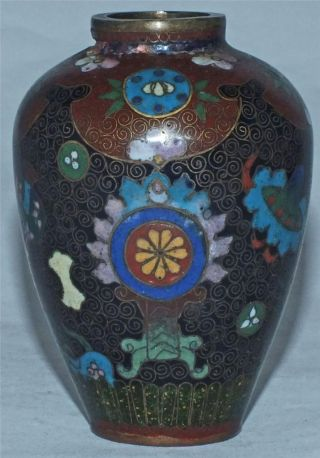 Small Japanese Signed Meiji Period Cloisonne Vase photo