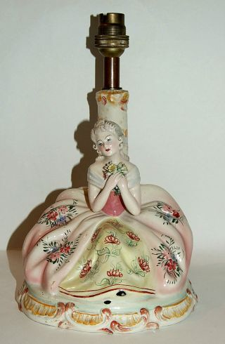 Vintage Capodimonte Type Lamp Figurine Table Lamp Crinoline Lady photo
