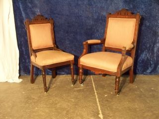 Antique Matching Victorian King And Queen Hand Carved Chairs photo