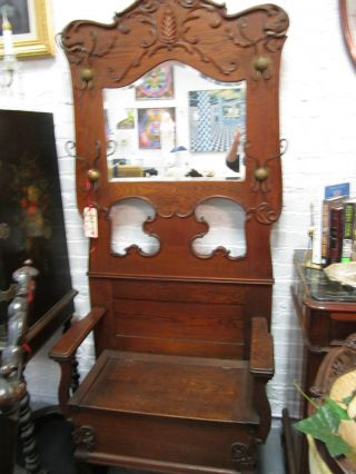 Antique Mirror Hall Tree Oak With 4 Hangers And Seat With Lid For Boot Storage photo