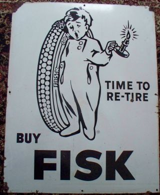 Antique Porcelain Fisk Tire Advertising Sign 1920 ' S photo