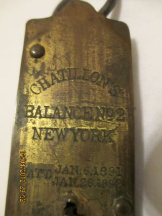 Vintage Chatillon Balance Scale,  Patented Jan 6,  1891 - Jan 26,  1892 photo