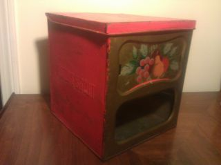 Antique Huston Biscuit Tin General Store Box W/ Glass & Brass Front Fruit Design photo