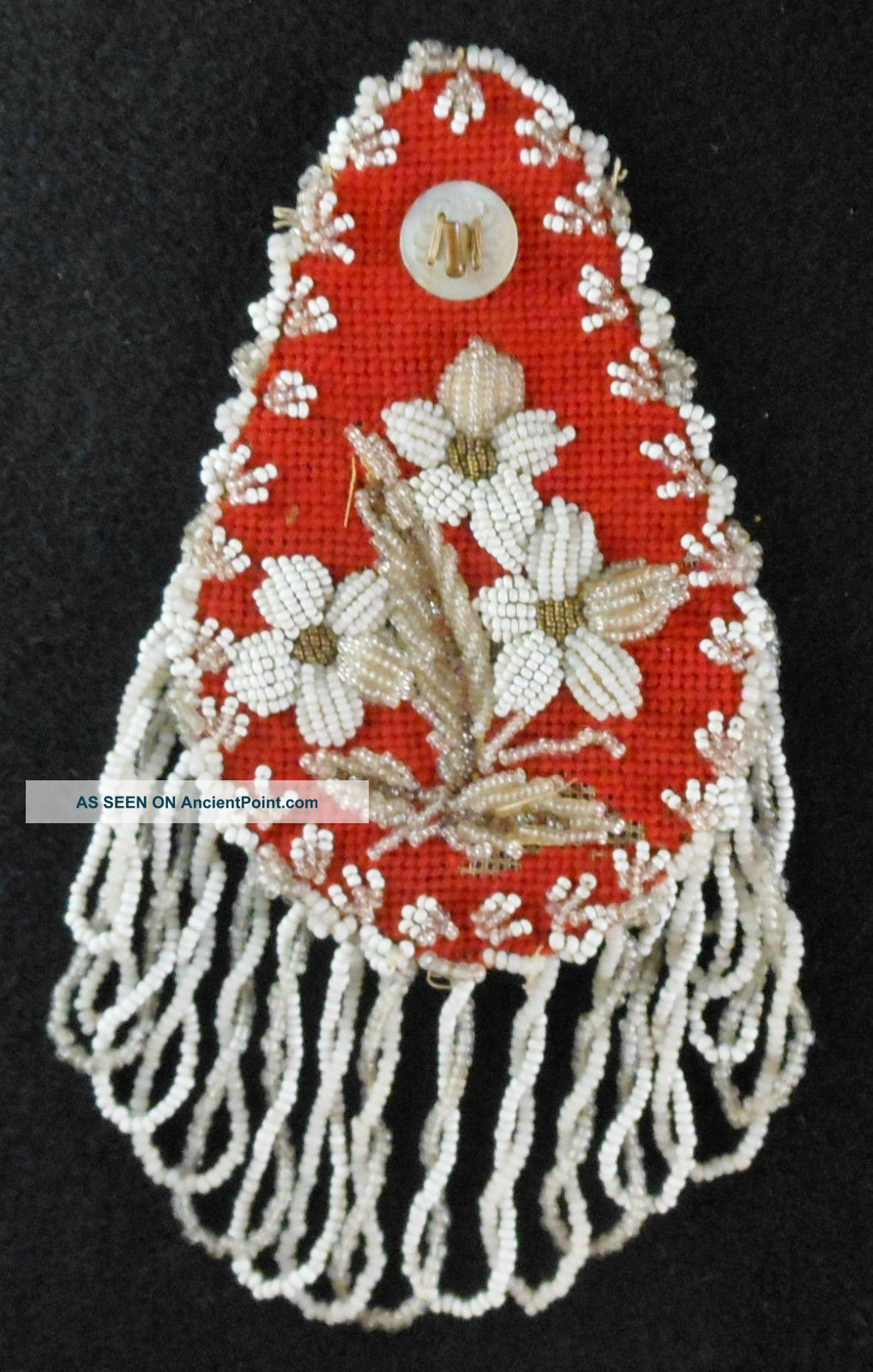 Great 19th Cen.  Mohawk Floral Beadwork Wall Watch Hanger Hutch Native American photo