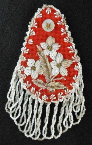 Great 19th Cen.  Mohawk Floral Beadwork Wall Watch Hanger Hutch photo