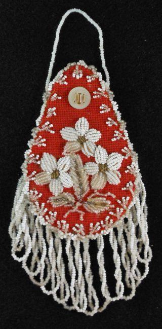 Great 19th Cen.  Mohawk Beadwork Wall Watch Hanger Floral photo