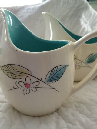 Vintage Coffee Set 1950 ' S Retro Ceramic With Blue Interior Classic photo