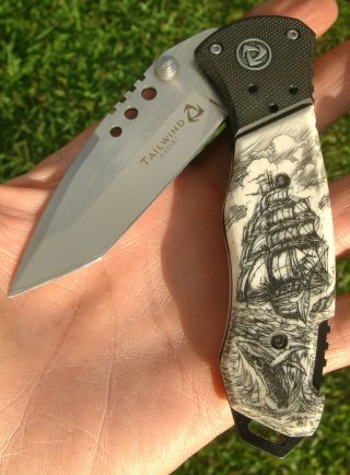 Scrimshaw Art,  Tall Ship,  Whale,  Tanto Blade,  Speed Assist,  Folding Knife/knives photo