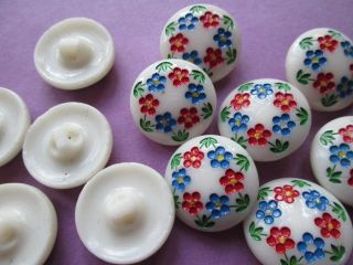 Vintage Buttons Handpaint In Czech Republic The Are From Glass photo