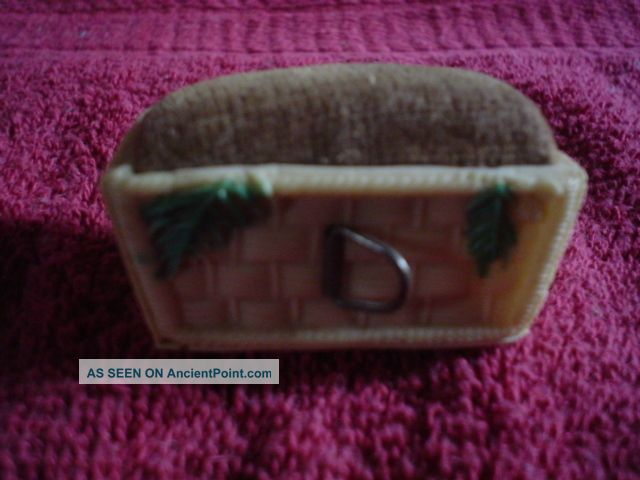 Figural Tape Measure Basket With Pincushion Tools, Scissors & Measures photo