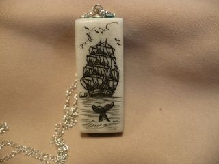Scrimshaw Cow Bone & Turquoise Pendant Ship - Whale Tail photo