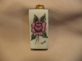 Scrimshaw Cow Bone & Turquoise Pendant Beach Rose photo