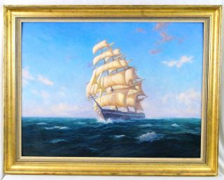 Ernest Principato New England Artist Three Masted Nautical Ships Painting photo